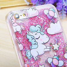 New Cute Unicorn Dynamic Liquid Bling Clear Hard Case Cover For iPhone & Samsung