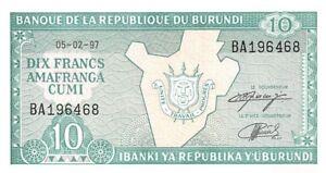 Burundi 10 Francs 1997 Unc pn 33d