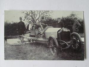Crashed car postcard. Vintage postcard. motor car postcard.