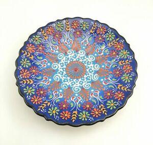 Handmade Ceramic Wall Hanging Plate - Hand Painted Turkish Pottery
