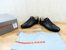 Prada Black Boxed Men's UK 9  US 10  E 43 Leather Lace trainers Casual Shoes