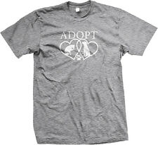 Adopt Cat Dog Hearts Paw Print Shelter Rescue Pet Animal Mens T-shirt