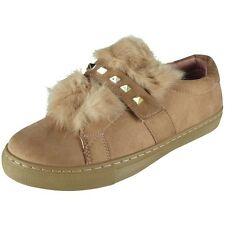 Womens Flat Trainers Ladies Studded Faux Fur Slip On Sneakers Pumps Shoes Size