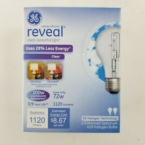 GE 2 Pack 100w  Reveal Clear A19 Halogen Bulb 62618