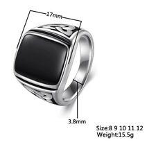 Titanium Steel Ring Big Black Stone Square Ring Men Silver Color For Male Gift