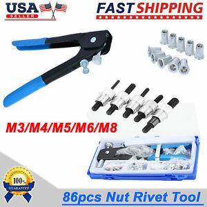 86 Pcs Threaded Nut Rivet Gun M3-m8 Insert Tool Riveter Rivnut Nutsert Riveting