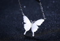 Elegant! 925 Sterling Silver GP Butterfly Pendant Chain Necklace