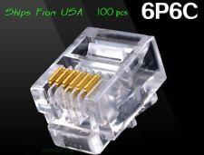 100pcs RJ12 RJ11 6P6C Modular Plug DSL Telephone Connector. Gold-plated