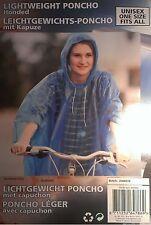 Poncho BLAU mit Kapuze Unisex einweg - Fahrrad Regenponcho Regenjacke Regencape