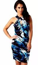 Lipsy Feather Print Bodycon Dress 10 Halter Neck Slinky Multi Blue Keyhole Mini