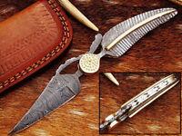 Beautiful handmade Damascus folding knife with leather sheath