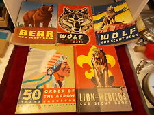 LOT OF 5 OLD VTG BOY & CUB SCOUT BOOKS, WOLF, BEAR, LION-WEBELOS, 50 YRS ANNIV