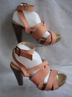180a93decac3 ELLOS WOMENS PEACH BUCKLE SYNTHETIC HIGH HEELS STRAPPY SANDALS  SZ 6.5 40(WHS361