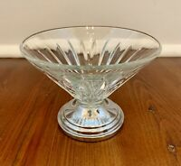 """Vintage Glass Footed Dessert Bowl 4 1/2"""" across 3"""" 3/8"""" height"""