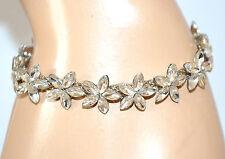 BRACCIALE CRISTALLI argento donna fiori elegante cerimonia sposa bracelet F98