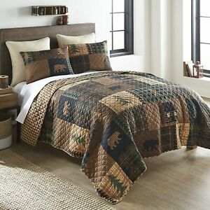 Queen Quilt Set Bedding Lodge Lake Cabin Rustic Mountain Country Cottage 3Piece