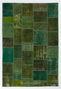 Green Color Handmade Patchwork Rug Made from Over-Dyed Vintage Carpets