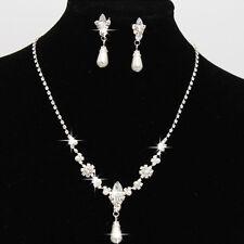 Bridal Wedding Faux Pearls Rhinestone Necklace Water Drop Earrings Jewelry Set U