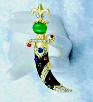 Dynamic! JEWELED Aladdin SWORD Gold RHINESTONE Retro Vintage Style Brooch Black