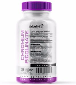 Chromium Picolinate Tablets | 1,000mcg | Appetite Control, Weight loss, Insulin