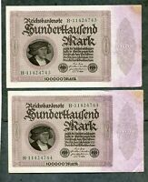 ALEMANIA lote 2 BILLETES  CORRELATIVOS  100000  MARK  1923    SC UNC   pareja