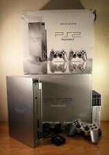 Sony PlayStation 2 Satin Silver Console PS2 Boxed With Outer Cover & Games