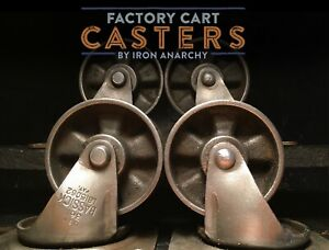 Vtg INDUSTRIAL CASTER SET Factory Cart Dining Coffee Table Cast Iron Metal Wheel