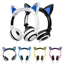 Foldable Cat Ear LED Music Lights Headphones Gaming Headset Earphone Flashing HQ