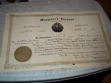 1951 ISSUED RABBI MINISTER'S LICENSE STARK COUNTY OHIO PROBATE COURT FORM 20852