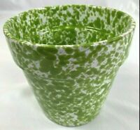 """Italian Pottery Red Ware Planter Unique Lime Green and White Speckled Glaze 5.5"""""""