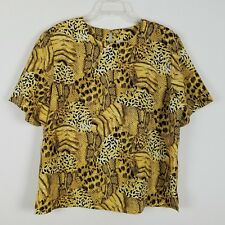 Kathy Che short sleeved 100% polyester snake print Vintage blouse size L