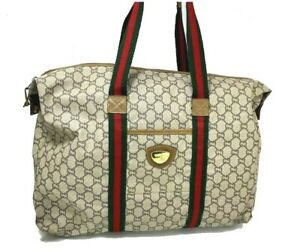 AUTH GUCCI Plus Web Sherry Line GG Canvas Tote Bag PVC Leather Italy 59320347