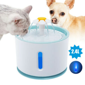 Pet Fountain Running Water Auto Electric Drinking Bowl with LED Light & Filter