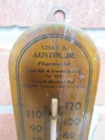 CHAS AUSTIN Jr PHARMACIST Old Wooden Thermometer Sign Drug Store Apothecary Ad