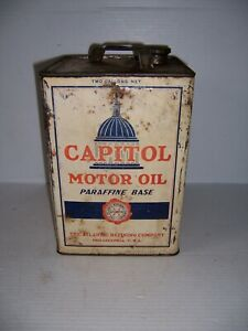 Vintage Capitol Motor Oil Winter Medium 2 Gallon Can Gas Station Advertising