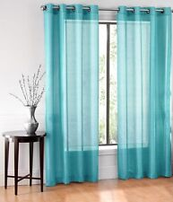 1 SOLID BRONZE 8 GROMMET SHEER WINDOW PANEL CURTAIN TREATME DRAPE RUBY AQUA 84""