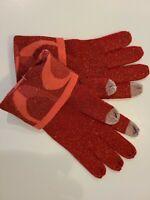 Coach Womens Size O/S Pink Cuffed Metallic Knit Winter Gloves New