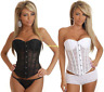 Womens Fancy Lingerie Waist Training Boned Lace Up Corset Bustier Top Shapewear