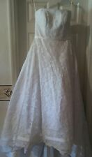 HOUSE OF WU Private Collection 8986 White w/Lace Overlay A-line Strapless Sz 16