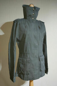 Roxy Twinkle Longline Military Style Jacket Ladies Size L Olive Green Rip-Stop