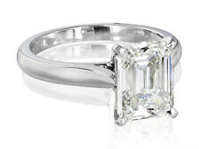 2.02 Ct. Emerald Cut Diamond Solitaire Engagement Ring H,VVS2 EGL 14K WG