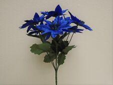"""4 Bushes NAVY BLUE Christmas Poinsettia Artificial Flowers 12"""" Bouquet 7-209NBL"""