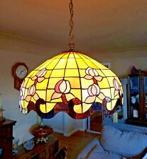 """Vintage Tiffany Style Hanging Light Stained Glass Ceiling Fixture 20"""" Roses"""