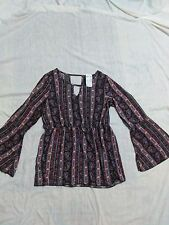 Women's Deb Multi-Colored Paisley Long Sleeve Top  Size L New With Tag