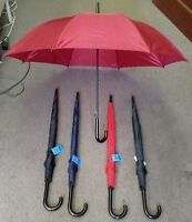 """LOT OF 2--UNISEX AUTO OPEN  CURVED HANDLE UMBRELLA  ,48"""" ROUND WIDE-1200A"""