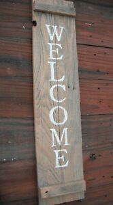 """Wood Door Sign WELCOME  Porch Vertical Weathered Farmhouse Handmade 33"""""""