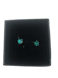 Heart Shaped Blue Zircon Stud Earrings December Birthstone Goldtone Post Back
