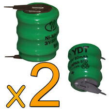 2 PILES ACCUS BATTERY RECHARGEABLE Ni-Mh 80Mah 3,6 V 14h 8ma - DIRECT DE FRANCE