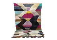 Moroccan azilal berber boucherouite area rug, morocco patchwork handmade carpet.