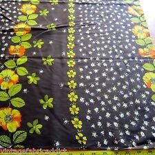 50cm X 112cm Vintage Cotton Blend Fabric 1970s Brown Yellow Floral Border Retro
